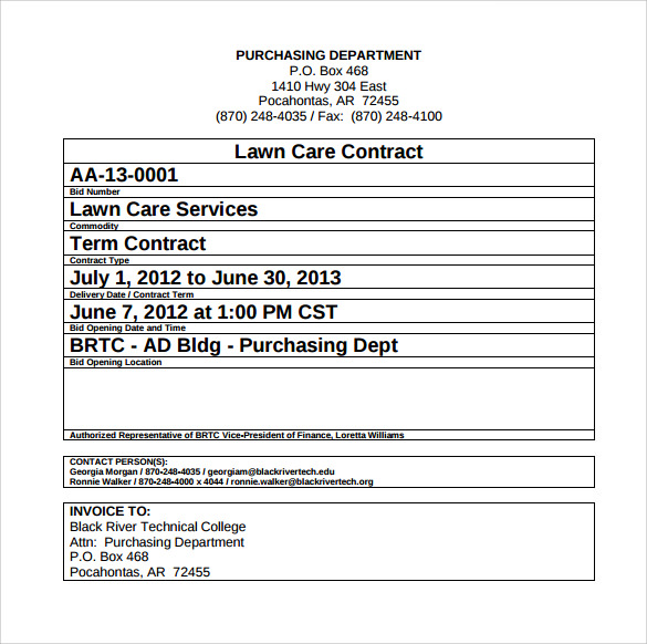 Lawn Service Contract Template   7+ Download Documents In Pdf