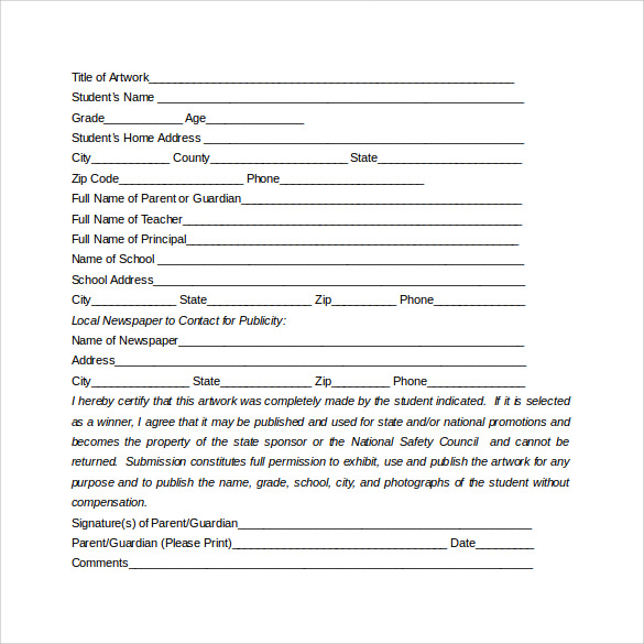 artwork submission and release form free download doc
