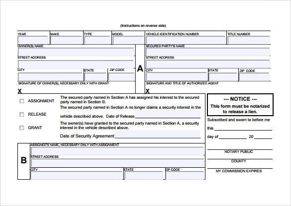 Sample Release of Interest Form 12 Download Free Documents in – Release of Interest Form