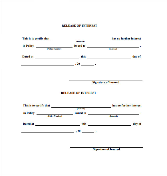 free printable release of interest form in insurance policy