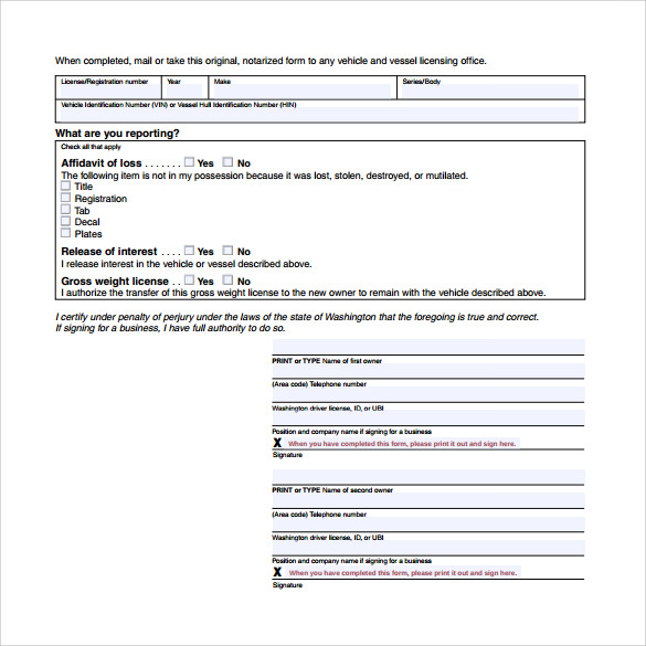 free affidavit of loss release of interest form