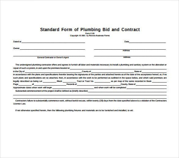 Plumbing Contract Template   Download Documents In Pdf