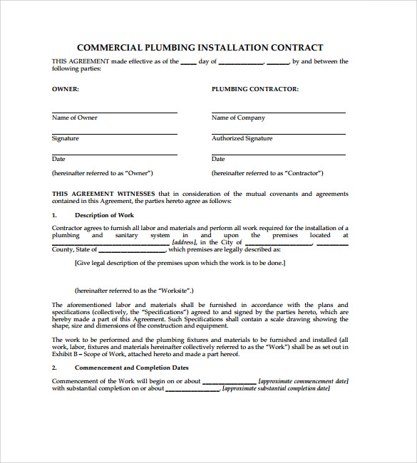 Essays, University, Students - Writing Service Agreement For Plumbing