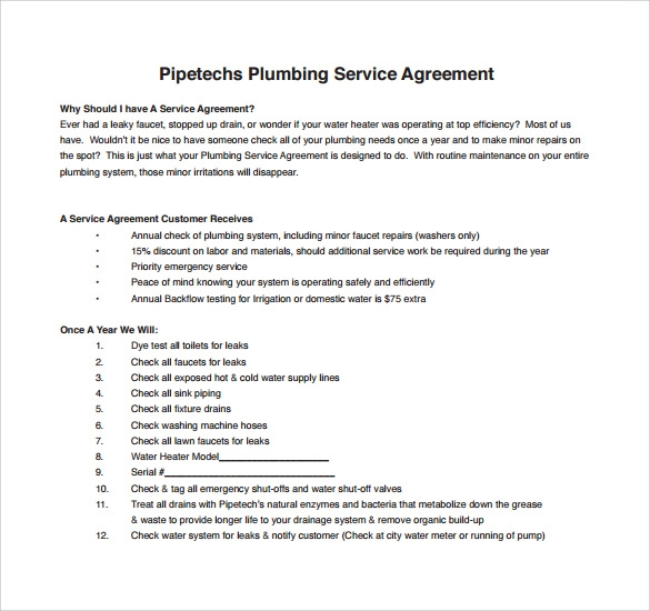 printable plumbing contract template