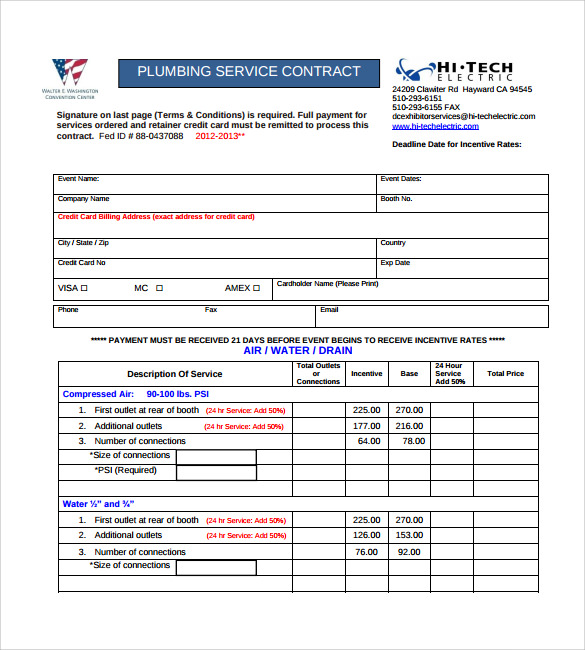 Plumbing Contract Template 11 Download Documents In Pdf