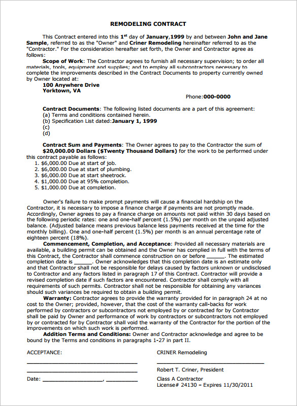 Home Remodeling Contract 7 Download Documents In Pdf
