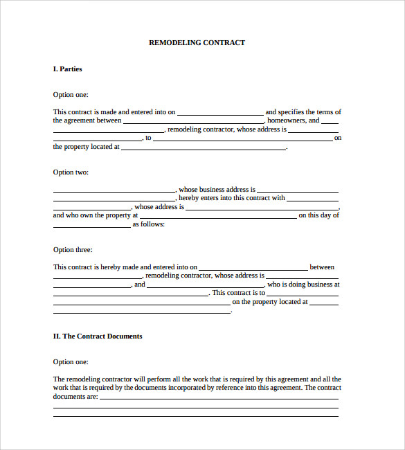 Home Remodeling Contract Template Free PDF