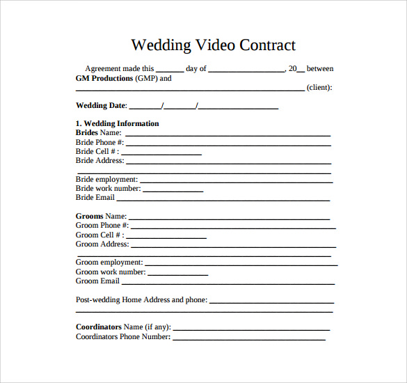 Example Of Videography Contract Template