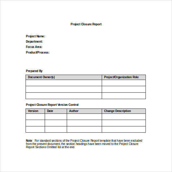 project closure report template in word for free