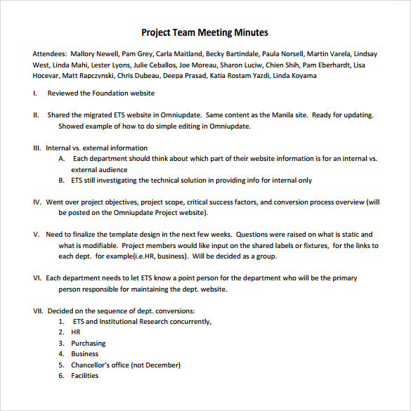 sample department meeting agenda
