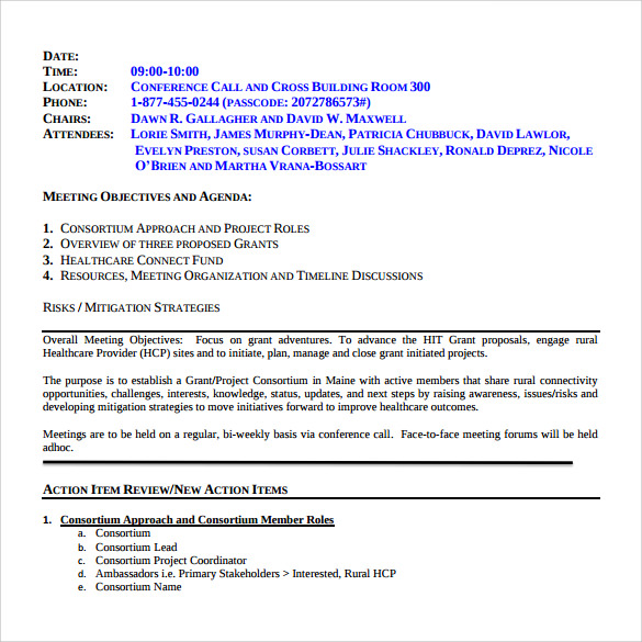 Sample Project Meeting Minutes Template   Free Documents In Pdf