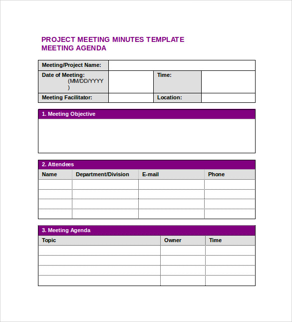 Sample Project Meeting Minutes Template 9 Free Documents in PDF – Meeting Templates Word