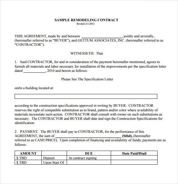 Renovation Contract Template Download For Free