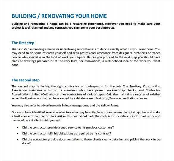 Renovation Contract Template   Download Documents In Pdf