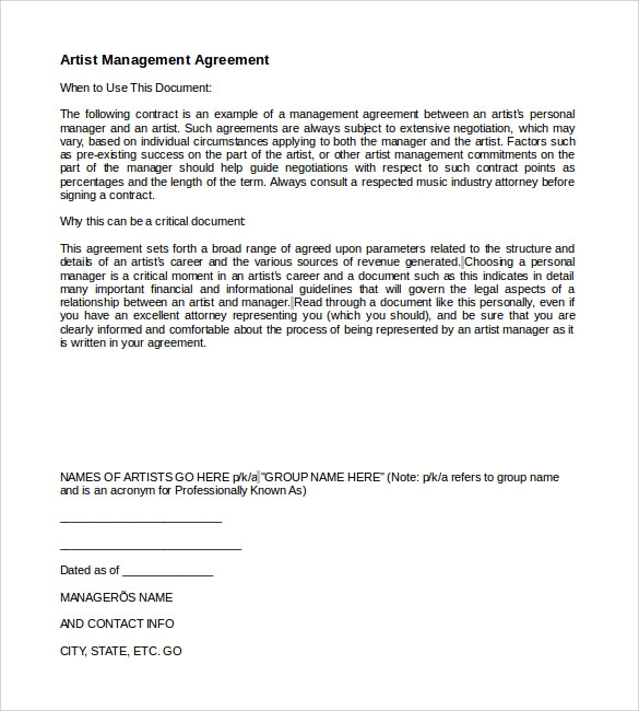 Artist Management Contract Template   Download Documents In Pdf Word