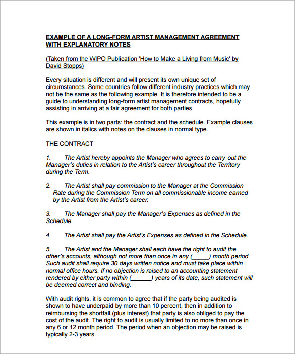 Artist Management Contract Template   Download Documents In Pdf