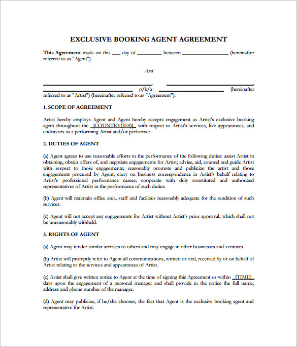 10 booking agent contract templates to download sample for Band booking contract template