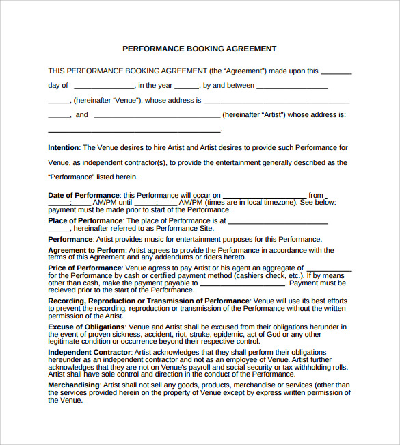 Booking Agent Contract Template   Download Free Documents In Pdf