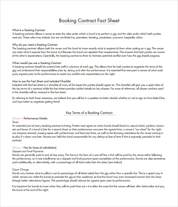 Booking agent contract template for Band booking contract template
