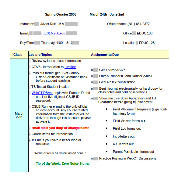 Sample Class Schedule   Documents In Pdf Word