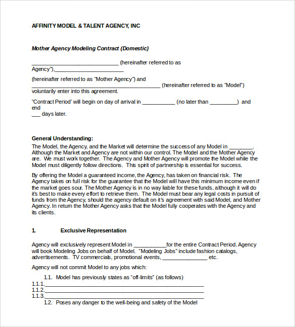 Booking Agent Contract Templates To Download Sample Templates - Talent management contract template