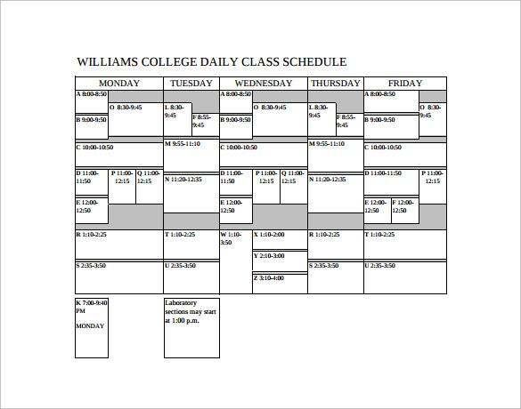 9 sample class schedules sample templates