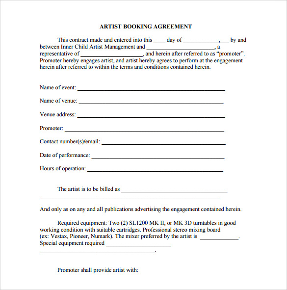 Booking Agent Contract Template   Download Free Documents In