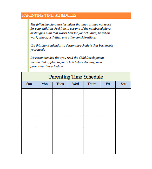 time schedule template pdf