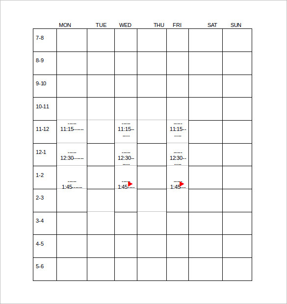 time schedule doc