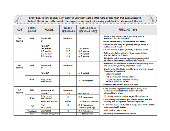 Sample Baby Feeding Chart - 7+ Documents in PDF