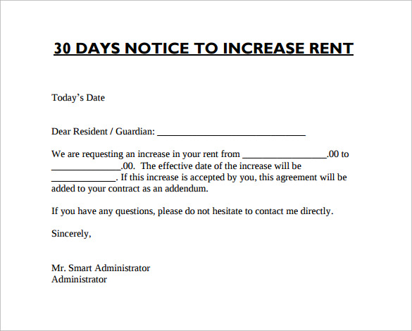 sample rent increase notice