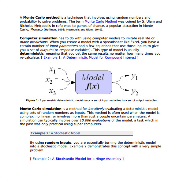 Sample Monte Carlo Simulation Template   Free Documents In Pdf
