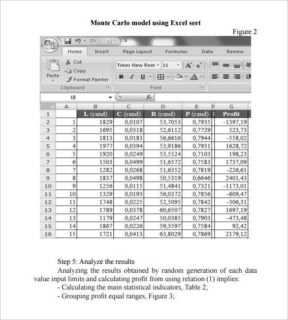 Sample Monte Carlo Simulation Template   Free Documents In Pdf Word