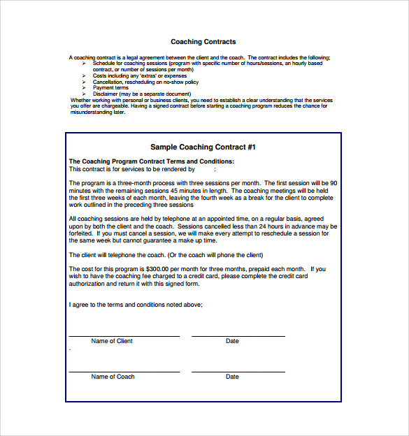Coaching Contract Template   Download Free Documents In Pdf