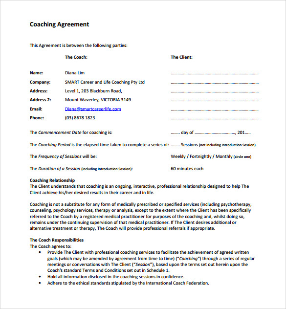 coaching contract template 12 download free documents With coaching contracts templates