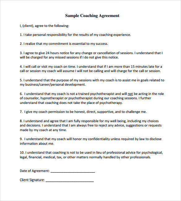 executive coaching contract sample