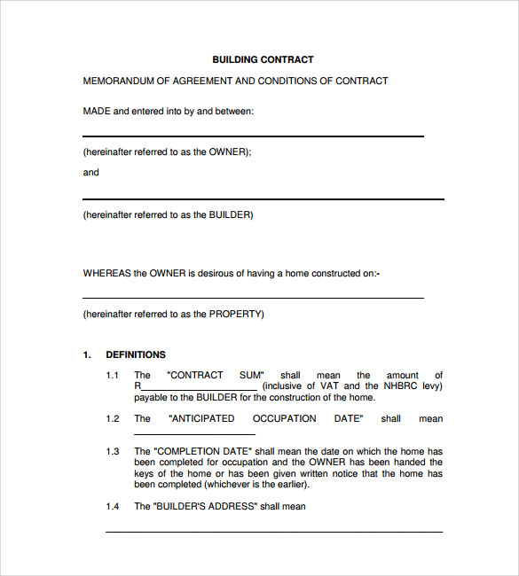 remodeling contract template example