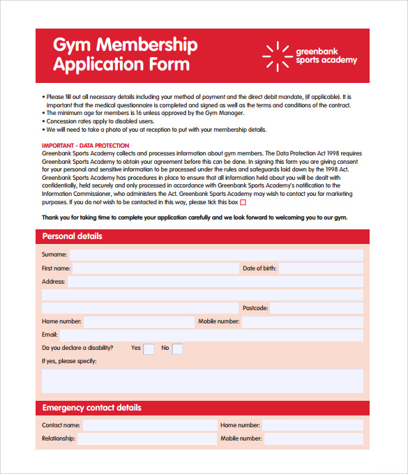 Gym Membership Contract Form Template  Application Form Template Free Download