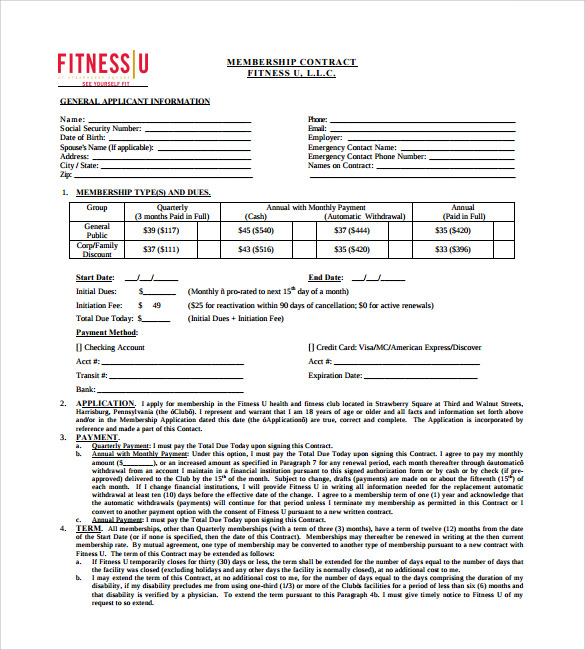 Gym Contract Template 9 Download Free Documents In PDF