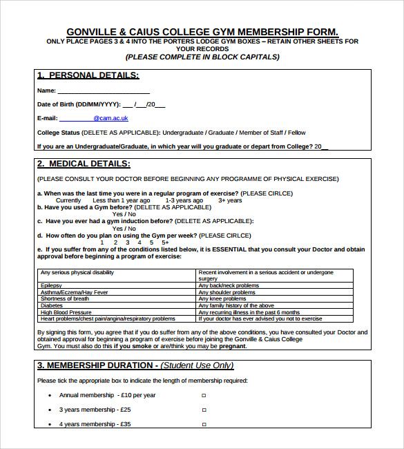 College Gym membership form template