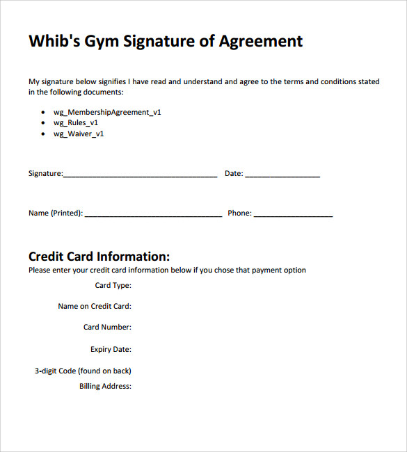 11 Gym Contract Templates To Download For Free
