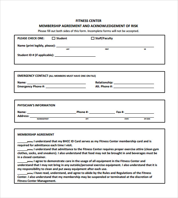 Gym Contract Template 10 Download Free Documents In PDF