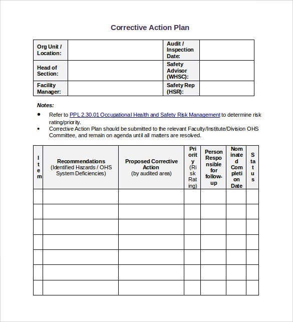 Sample Corrective Action Plan Template - 8+ Documents In Pdf , Word
