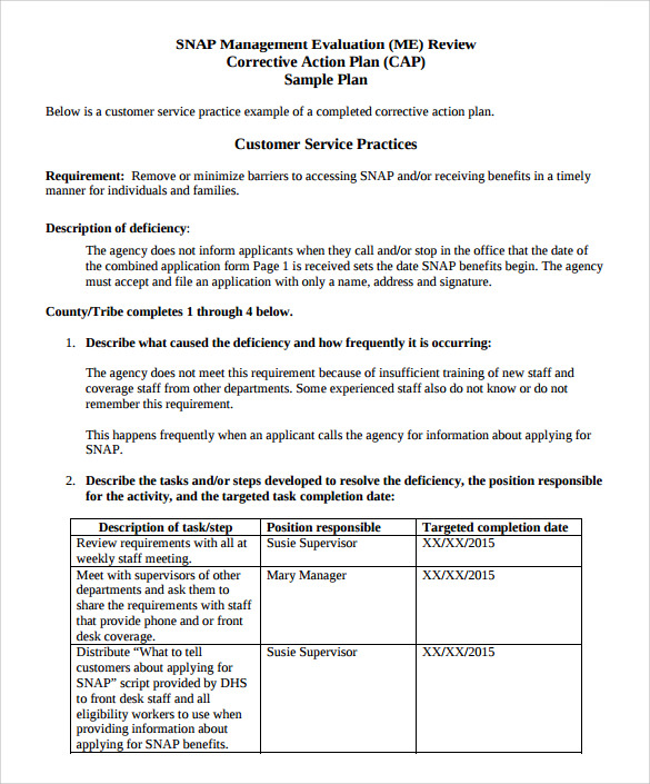 Sample Corrective Action Plan Template   9  Documents in PDF Word wriGW3XM
