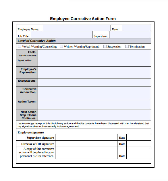 Hr Plan Template. Employee Corrective Action Plan Template Sample