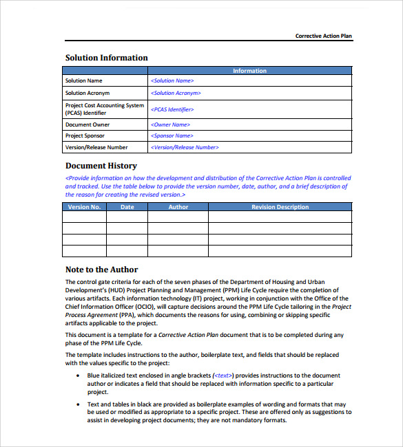 free corrective action plan template koni polycode co