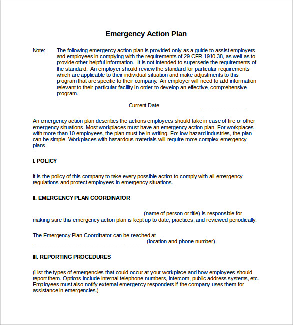Sample Emergency Action Plan Template   9  Documents in PDF Word DEmhiFsM