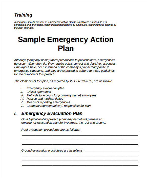 Sample Emergency Action Plans Insssrenterprisesco - Business emergency plan template