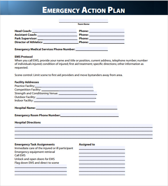 Sample Emergency Action Plan Template - 9+ Documents in PDF , Word