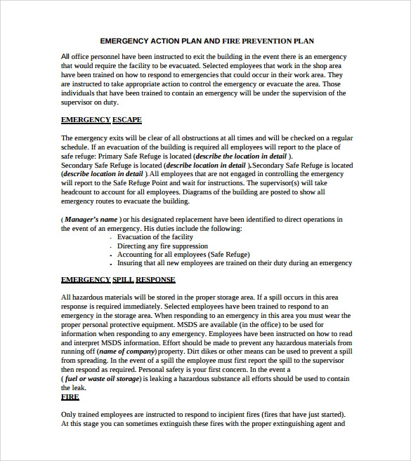 Sample Emergency Action Plan Template   9  Documents in PDF Word dFZBiyoc